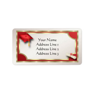 Red and Gold Grauation Address Labels