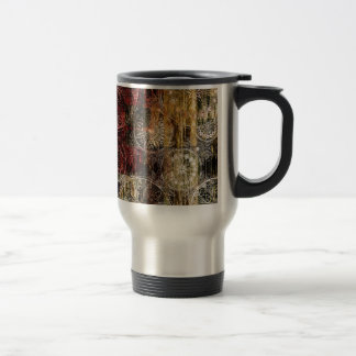 Red and Gold Grunge Swirl Design Travel Mug