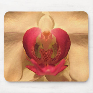 Red and Gold Heart of the Orchid Mouse Pad