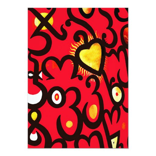 Red and Gold Heart Pattern (b) 5x7 Paper Invitation Card