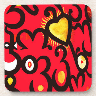 Red and Gold Heart Pattern (b) Drink Coaster