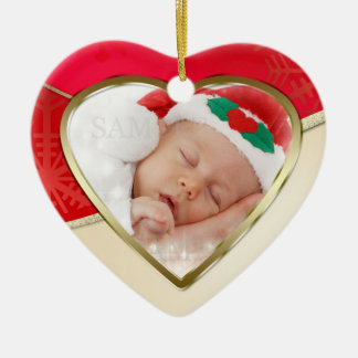 Red And Gold Heart Shaped Christmas Photo Template Ceramic Ornament