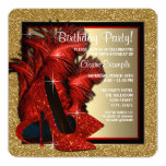 Red and Gold High Heels Birthday Party Custom Announcements