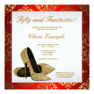 Red and Gold High Heels Womans 50th Birthday Card