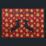 """Red and Gold Holiday Dachshund Place Mats<br><div class=""""desc"""">The perfect festive place mats for any dachshund lover,  rich red and gold back round and two dachshund silhouettes ready to celebrate the holiday season.   Customize with your own text or leave as is!</div>"""