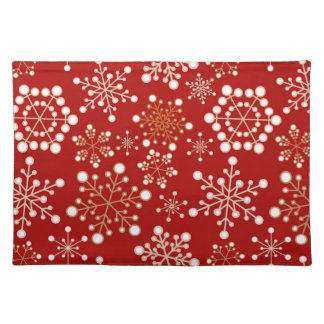 Red and Gold Holiday Pattern Cloth Place Mat