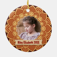 Red and Gold Holiday Photo Frame Monogram Ceramic Ornament
