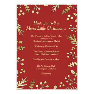 Christmas parties wedding invitations zazzle red and gold holly christmas party invitation solutioingenieria Image collections