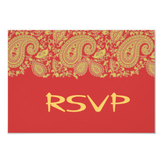 Red and gold indian damask RSVP Card