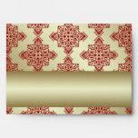 Red and Gold Indian Damask Wedding Envelope