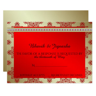 Red and Gold Indian Damask Wedding Response Card