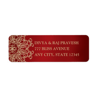 RED AND GOLD INDIAN INSPIRED ADDRESS LABELS