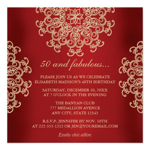 RED AND GOLD INDIAN INSPIRED BIRTHDAY INVITATION