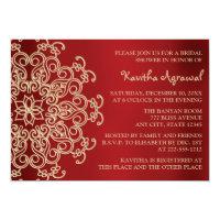 Red and Gold Indian Inspired Bridal Shower 5x7 Paper Invitation Card (<em>$2.16</em>)
