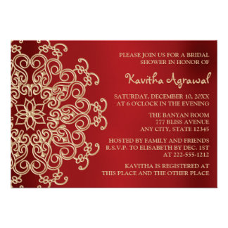 Red and Gold Indian Inspired Bridal Shower Custom Invites