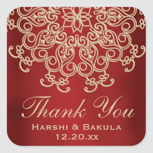 RED AND GOLD INDIAN INSPIRED THANK YOU LABEL STICKERS