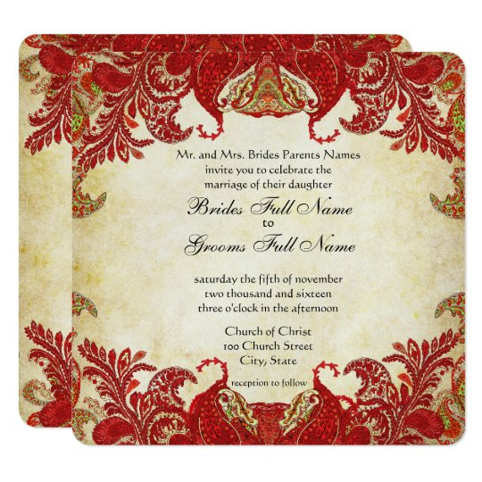 Red and Gold Indian Mehndi Designs Card