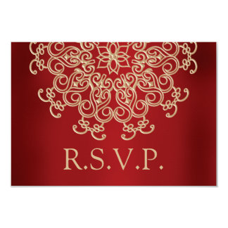 RED AND GOLD INDIAN RESPONSE RSVP CARD PERSONALIZED INVITATION