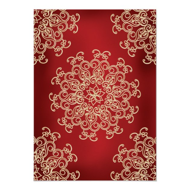 RED AND GOLD INDIAN STYLE WEDDING INVITATION (back side)