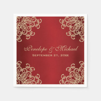 Red and Gold Indian Style Wedding Paper Napkin