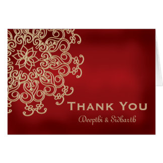 RED AND GOLD INDIAN STYLE WEDDING THANK YOU STATIONERY NOTE CARD