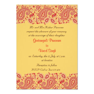 Red and gold Indian Wedding Custom Announcement