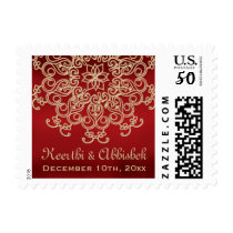 RED AND GOLD INDIAN WEDDING POSTAGE STAMPS