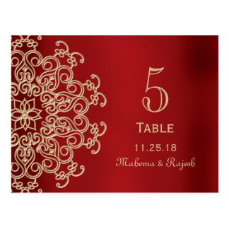 RED AND GOLD INDIAN WEDDING TABLE NUMBER CARD