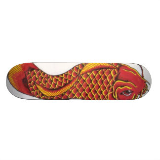 Red and Gold Koi Skateboard Deck