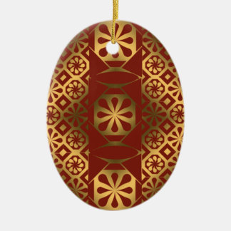 Red and Gold Lacquer Quilt Effect Ceramic Ornament