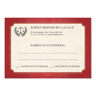 Red and Gold Law Firm/Law School Graduation RSVP 3.5x5 Paper Invitation Card