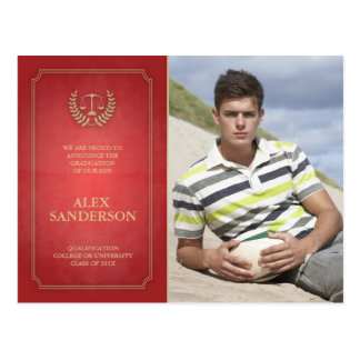 Red and Gold Law School Graduation Announcement Postcard