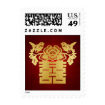 Red and Gold Love Birds Chinese Double Happiness Postage Stamps