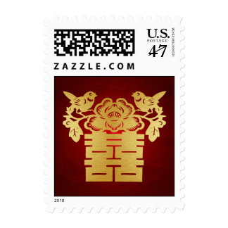 Red and Gold Love Birds Chinese Double Happiness Stamp