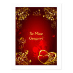Red and Gold Love Design Post Cards