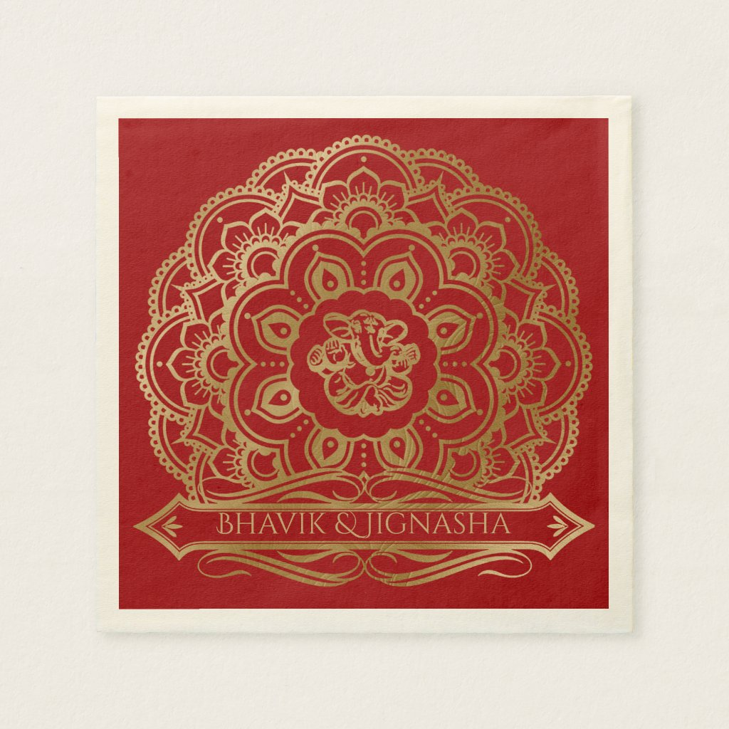 Red and Gold Mandala Indian Wedding Napkin