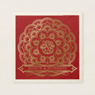 Red and Gold Mandala Indian Wedding Napkin