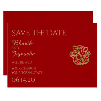 Red And Gold Mandala Indian Wedding Save The Date Card