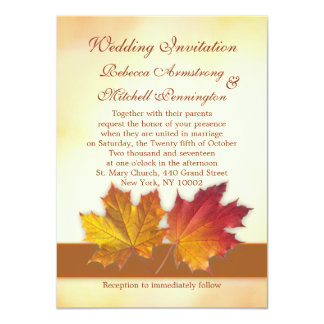Red and gold maple leaves Wedding Card