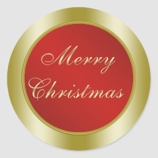 Red and Gold Merry Christmas Classic Round Sticker