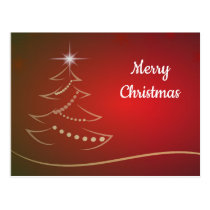 Red and Gold Merry Christmas Tree Greeting Postcard