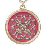 Red and Gold Metal Celtic Four-SIded Shield Knot Gold Plated Necklace