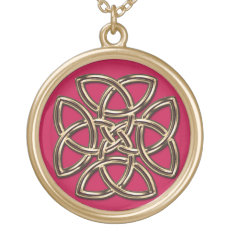 Red and Gold Metal Celtic Four-SIded Shield Knot Pendants