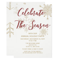 Red and Gold Modern holiday Party Card