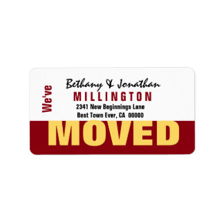 Red and Gold Modern Simple We've Moved V04 Address Label