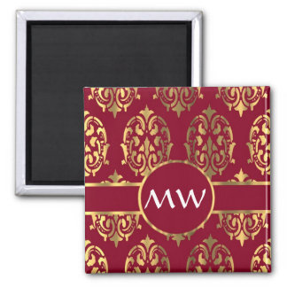 Red and gold monogram damask pattern magnet