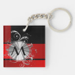 Red and gold monogrammed Double-Sided square acrylic keychain