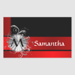 Red and gold monogrammed rectangular sticker