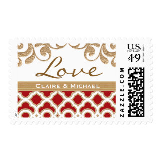Red and Gold Moroccan Love Wedding Postage