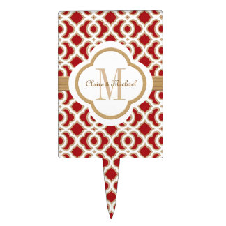 Red and Gold Moroccan Monogram Couples Cake Topper